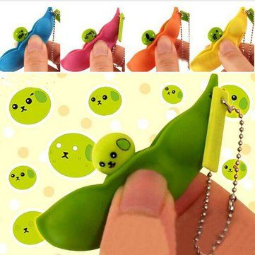2PCS Colorful Extrusion Pea Bean Soybean Stress Relieve Toy  Mobile Phone Accessories
