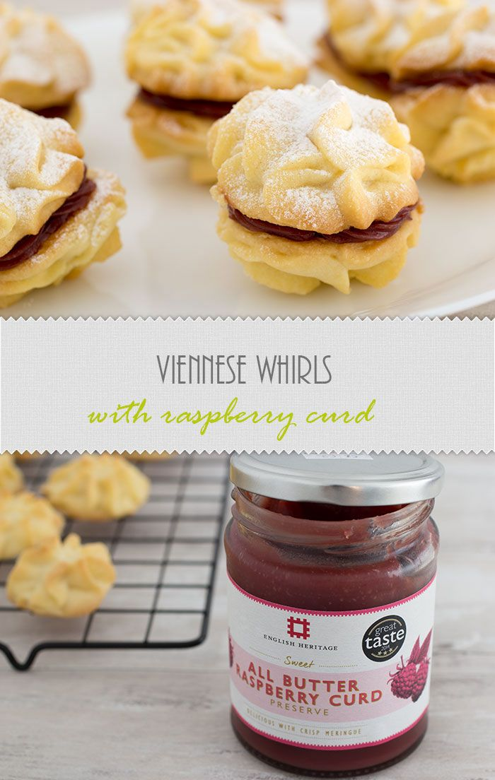 recipe of Viennese Whirls with raspberry curd. This is the basic recipe for whirls, baked for GBBO bake along. The filling is raspberry curd that I got from an English Heritage gift shop. The classic version has raspberry jam and buttercream, but with curd they are just as delicious.