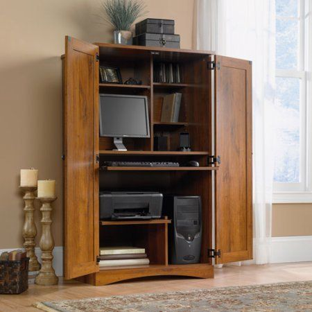 The cabinetry design is classic and clean for media, display and storage. This computer armoire features spacious shelves for sorting out and organizing your monitor, printer, speakers and other components. The keyboard/mouse shelf and printer shelf have metal runners and safety stops to slide... more details available at https://furniture.bestselleroutlets.com/home-office-furniture/computer-armoires-hutches/product-review-for-computer-armoire-rganize-pc-components-solid-look