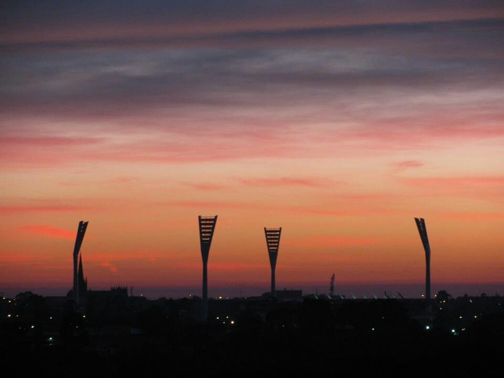 Geelong's new light towers.