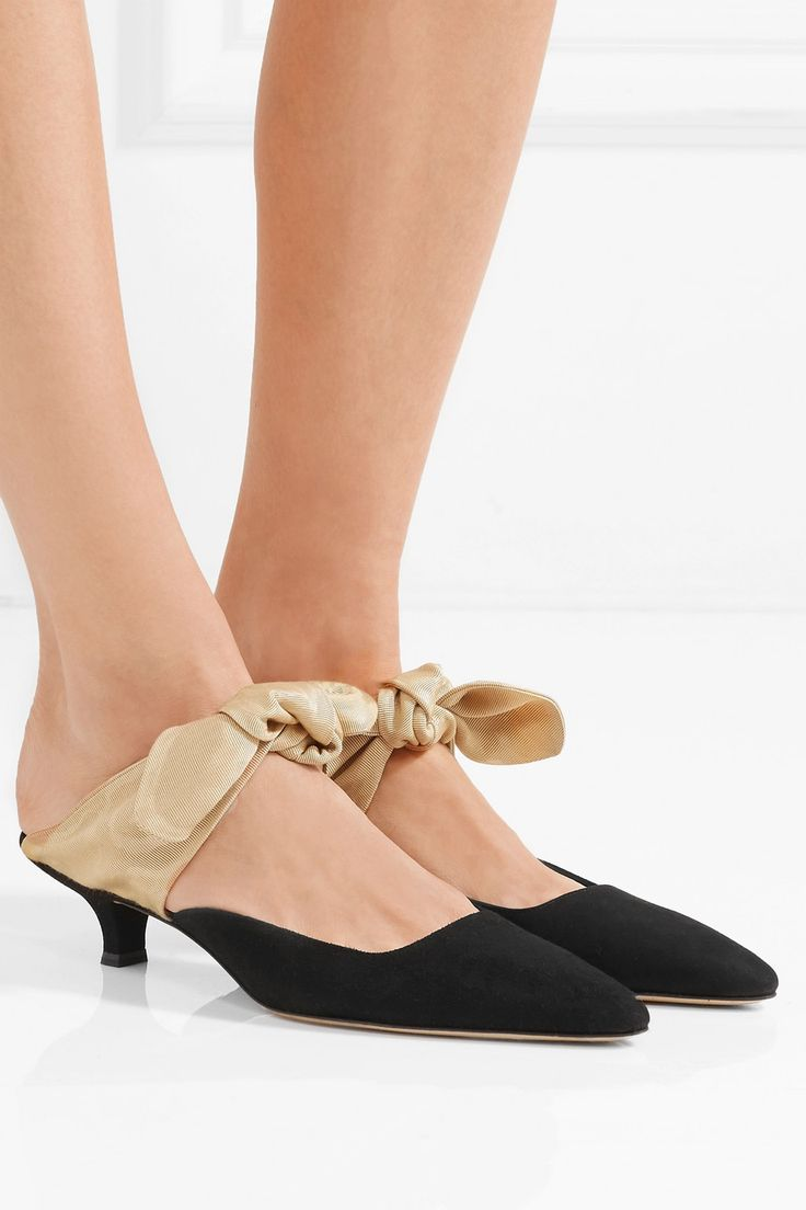The Row Coco suede and moire mules Kitten heel shoes