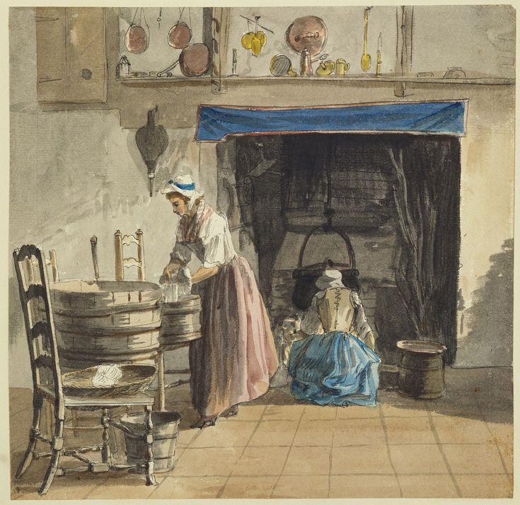 Paul Sandby (1731-1809) (artist)  RCIN   914329  Reference(s):   RL 14329   O(S) 250    Description:   A woman laundering, her tubs standing on chairs, left, another crouching and tending the fire at an open hearth. Bright sunlight