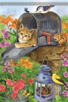 Cat in the Box Garden Flag FlagTrends CLASSIC FLAGS by Carson