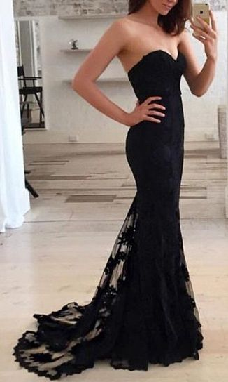 Black Appliques Sweetheart Mermaid Tulle Prom Dresses 2017
