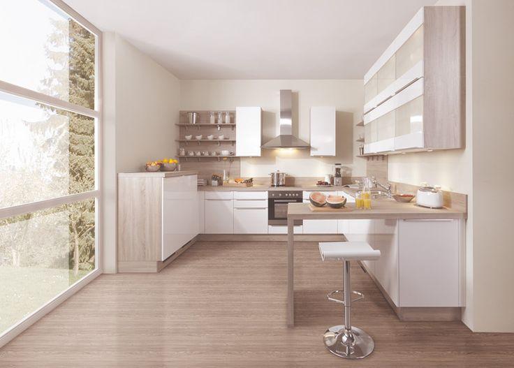 cette alliance du laqu blanc et du bois clair est trs bien compris par les dessinateurs - Cuisine Taupe Claire Et Mur Eb