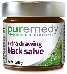 Puremedy's Extra Drawing Black Salve is a traditional herbal salve that has been crafted with the extra strength drawing power of bloodroot to remove splinters and other foreign debris from the skin. Herbs, plants, roots, and tree extracts like those found in this product have been used in indigenous cultures for thousands of years for various ailments. Extra strength for drawing out foreign matter from the skin such as splinters, ticks, cysts, and more!