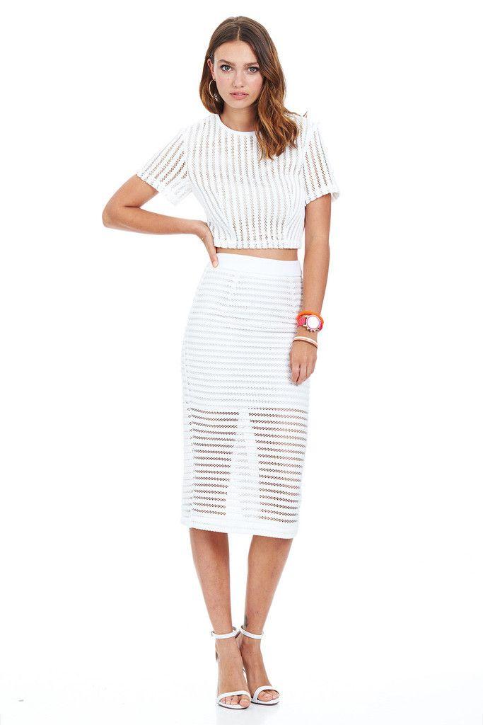 Minty Meets Munt - Landscape Midi Skirt - White