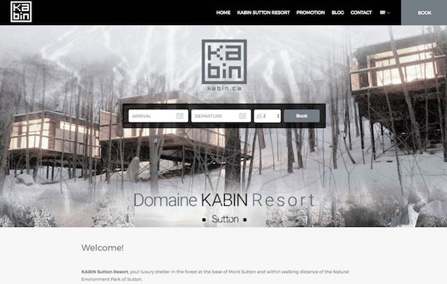 Kabin Sutton - This Lodgify customer has a geometric logo that reflects the property's square, compact shape, and the customized monochrome palette of the website reflects the natural snowy Canadian landscape.  #vacationrentalwebsites #vacationrentals #webdesign #website