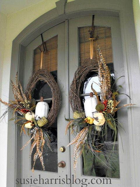 Susie Harris: Double Fall DIY wreaths with pumpkins and feathers.
