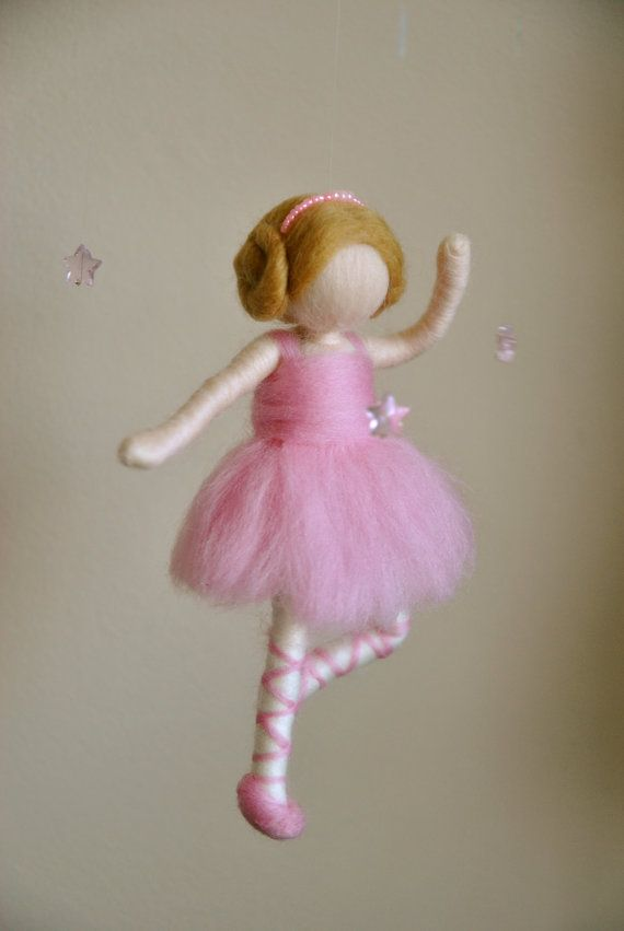 Waldorf inspired needle felted doll mobile Ballerina by MagicWool, $65.00