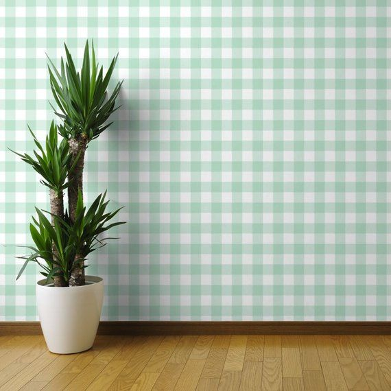 Mint Green Wallpaper Large Mint Buffalo Check Gingham By Etsy Peel And Stick Wallpaper Wallpaper Panels Wallpaper Roll