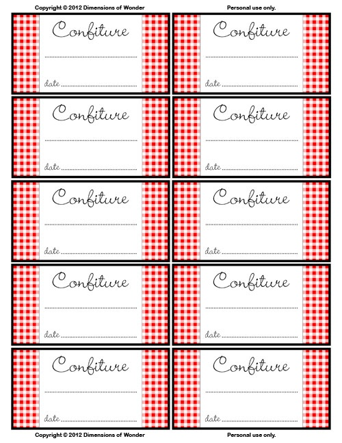 French Printable Jelly Jar Labels – Free