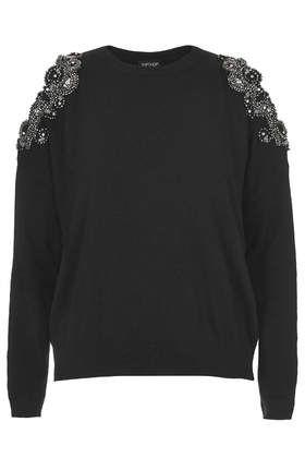 Topshop Cut out embellished jumper