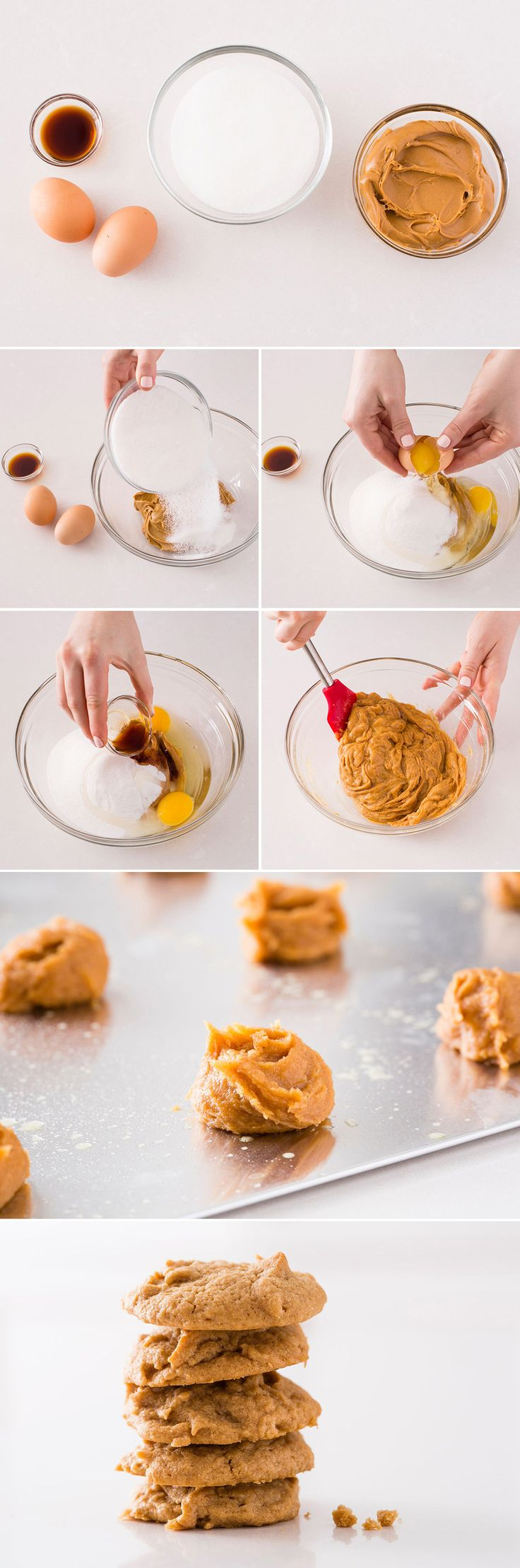 Use just four ingredients to make delicious Peanut Butter Cookies.