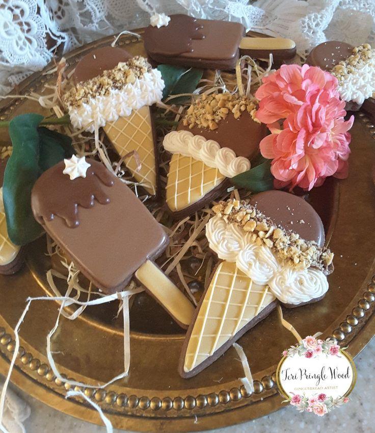 Chocolate sugar cookies, decorated cookies, ice cream cookies , Ice cream cone cookies