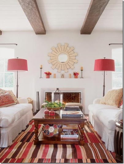 Warm - love the exposed beams.Wall Decor, Living Rooms, White Living, Lamps Shades, Expo Beams, Colors, Livingroom, Sunburst Mirrors, Kathryn Ireland