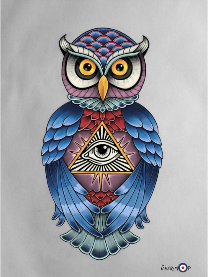 owl of athenaminerva with all seeing eye pyramid