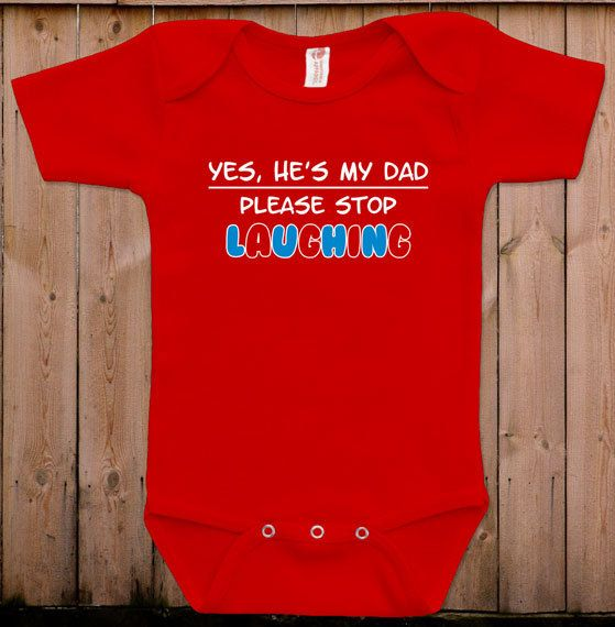 Funny baby clothes cute bodysuit Yes he's my by teesandmoretees