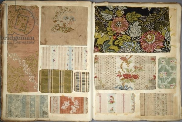 Page 26/27 from a French cloth sample book, between 1782-1805 (cloth on paper)