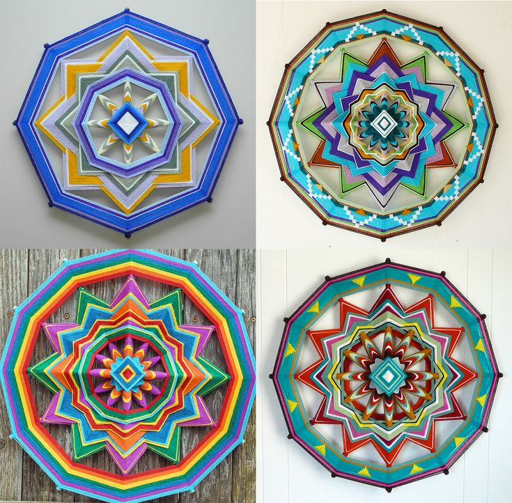 """Far more than just popsicle sticks and yarn, Jay Mohler's Ojos de Dios or """"God's Eye"""" mandalas update the craft often seen at sleepaway camps and elementary classrooms. Upwards of 15 colors of yarn are included in his elaborate mandalas, producing pieces that span up to 48 inches in diameter."""