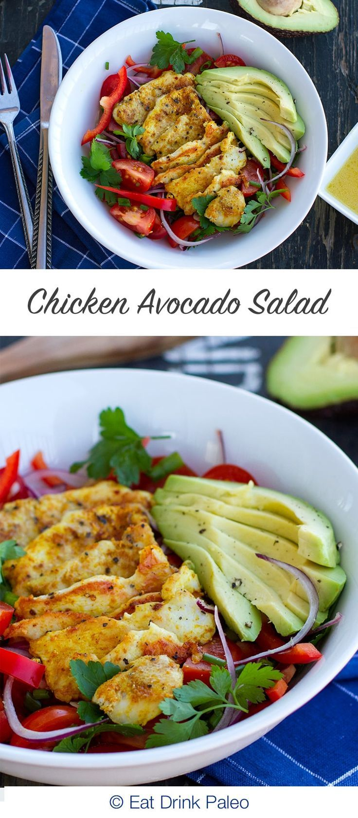 Warm Chicken Salad With Avocado |  Paleo, Gluten Free, Real Food Recipe. Click here: http://eatdrinkpaleo.com.au/warm-chicken-salad-with-avocado/