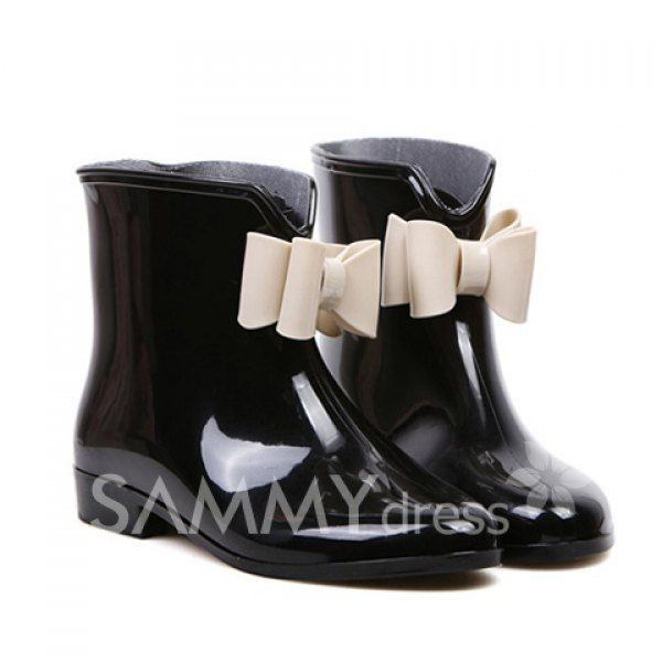 $10.16 Sweet Women's Rain Boots With Bowknot and Color Matching Design