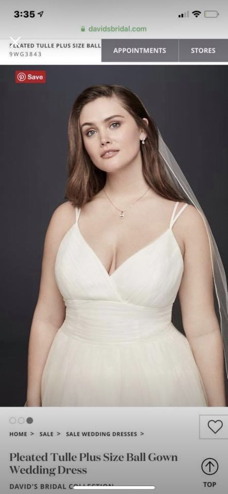 Tulle Ruched waistline V-Neck Spaghetti Strap Ball Gown Wedding Dress Size 16W #fashion #clothing #shoes #accessories #weddingformaloccasion #weddingdresses (ebay link)