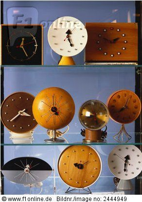 Mid-Century Desk  Clocks. George Nelson. (Some or all of these clocks may actually be designed by Irving Harper, a Herman Miller employee whose work is commonly misattributed to Nelson.)