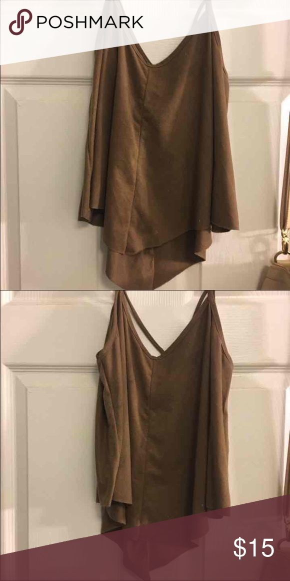 Suede cami Chocolate brown Cami worn once Tops Crop Tops