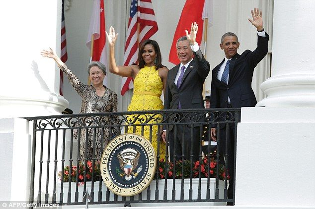 Obama (right), First lady Michelle (second left)), Prime Minister Lee Hsien Loong and Mrs....