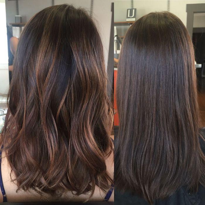 Haare schwarz mit braunen strähnen