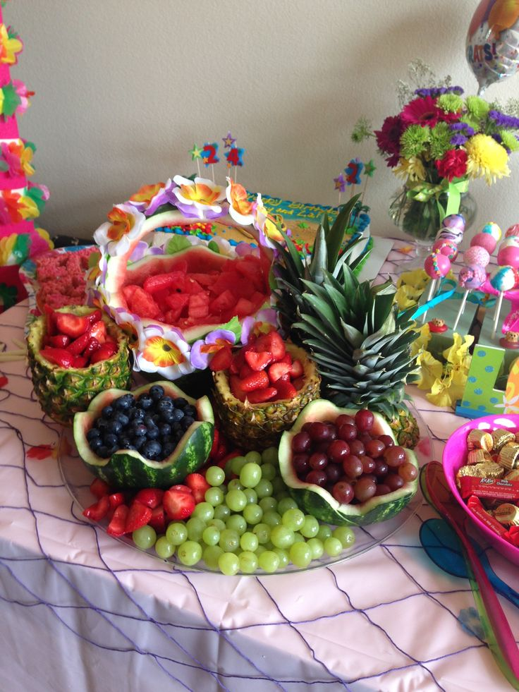 Huge luau fruit display