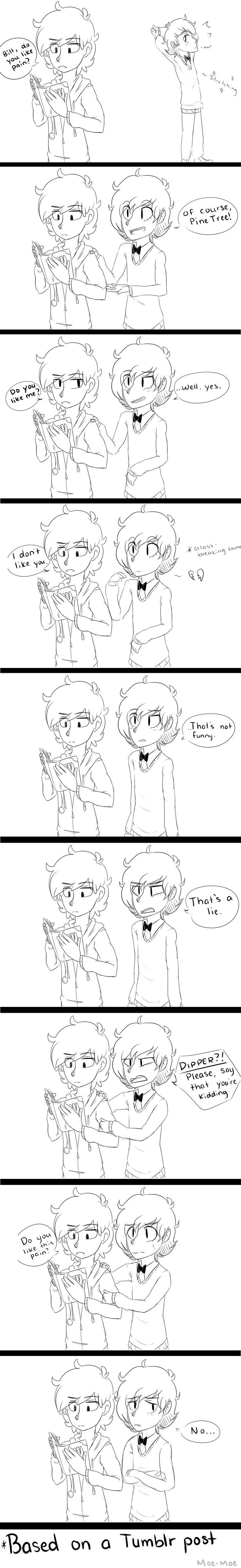 Pain is hilarious? (comic based on a Tumblr post) by maeven3 on DeviantArt - Nacho's feelings = hurt. Damn, Dipper.