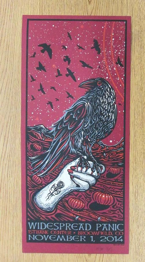 Original silkscreen concert poster for Widespread Panic at The First Bank Center in Broomfield, CO in 2014. Signed and numbered 145/350 by the artist Jeff Wood. Light edge wear.