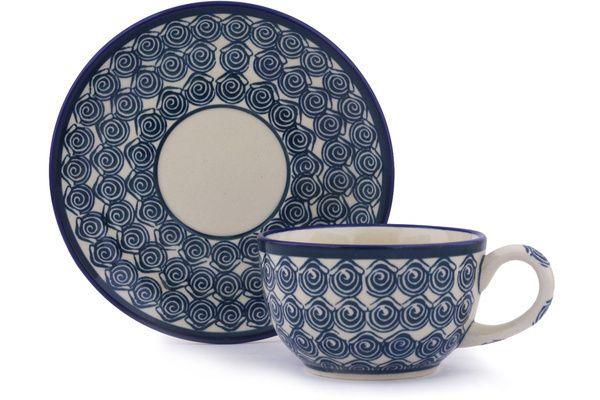 Polish Pottery 8 oz Cup with Saucer   Boleslawiec Stoneware   Polmedia H0943G