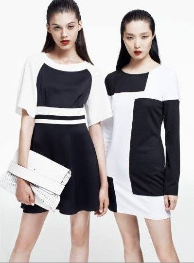 Vestito corti a blocchi di colore