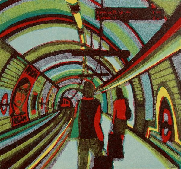 Back To Reality - a linocut print by Gail Brodholt
