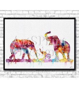Elephant Family Watercolor Print
