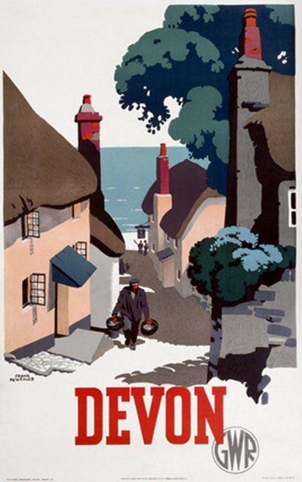 GWR.Vintage Travel Poster - UK - Devon - Railway.17