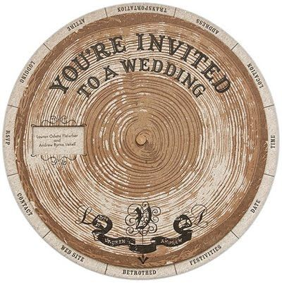 Alternative wedding invitation idea: carefully designed and styled from two circles of untreated, recycled chipboard — die-cut and then letter-pressed to look like an old planting wheel. Tree invitation.