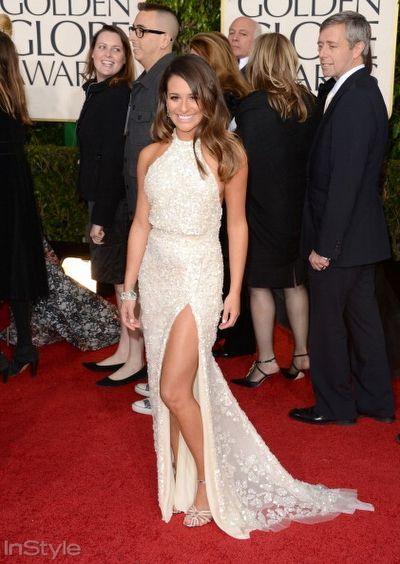 Lea Michelle, derin bacak dekolteli Elie Saab elbisesiyle çok seksiydi!
