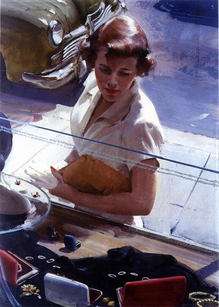Harry Anderson, Window Shopping.  This is a  transparent water color with touches of opaque paint.