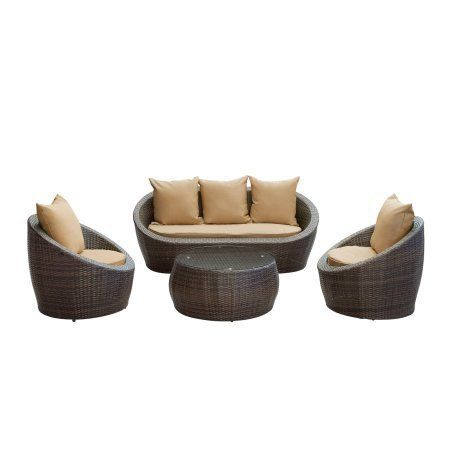 East End Imports EEI-643-BRN-MOC-SET Avo Outdoor Rattan 4 Piece Set in Brown with Mocha Cushions by East End Imports. $1221.99. Dimensions: Coffee Table Dimensions: 31L x 31W x 14HArmchair Dimensions: 31L x 31W x 26HLoveseat. Great Gift Idea.. All Weather Synthetic Rattan WeavePowder Coated Aluminum FrameWater & UV ResistantMachine Washable. Product Mterials:. Design is stylish and innovative. Satisfaction Ensured.. Lounge confidently and transform casual expeditions into l...