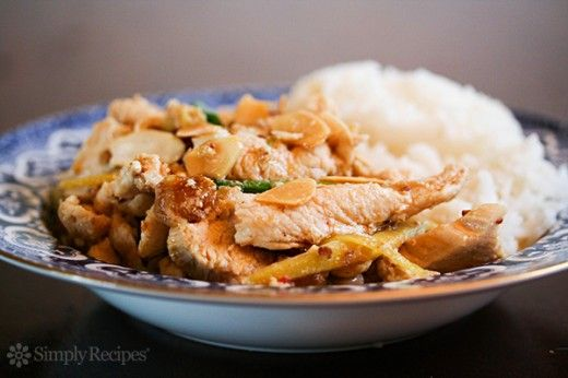 Ginger Chicken with Almonds Recipe on SimplyRecipes.com A quick and easy stir-fry! #glutenfree