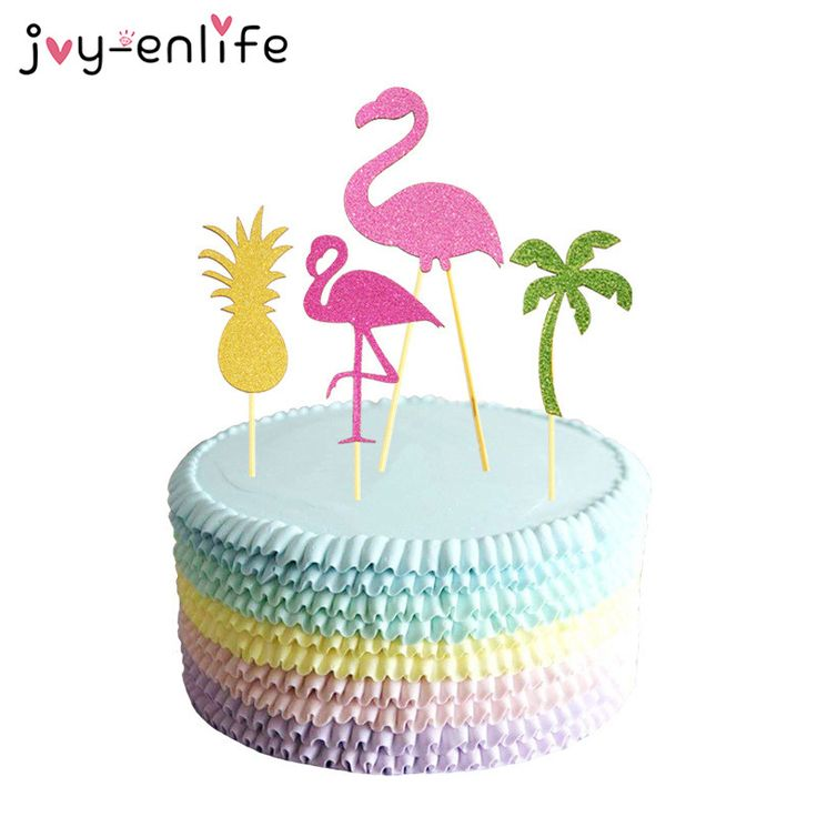 JOY-ENLIFE 4pcs Flamingo/Coconut Tree/Pineapple Cake Toppers Wedding Party Hen Party Pool Party Beach Party Decor Supplies #Affiliate