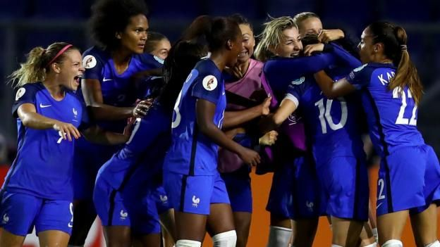 Eve Perisset (right) was shown a straight red card early on France survived a scare to reach the Women's Euro 2017 quarter-finals as they came from behind with 10 players to draw 1-1 and knock out Switzerland. With Austria beating Iceland to top Group C, runners-up France will face the...