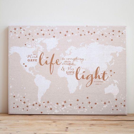 Christian home decor - Everlasting Light - Wall Map Pin Board - 27615 - $50.00