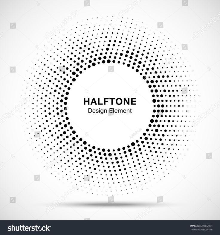 Halbton Kreis Vektor Rahmen mit schwarzen abstrakten zufälligen Punkten, Logo Emblem Design ….