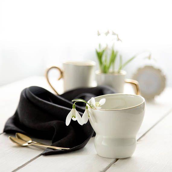 Cappuccino mug Ceramic white and gold mug Hand made mug