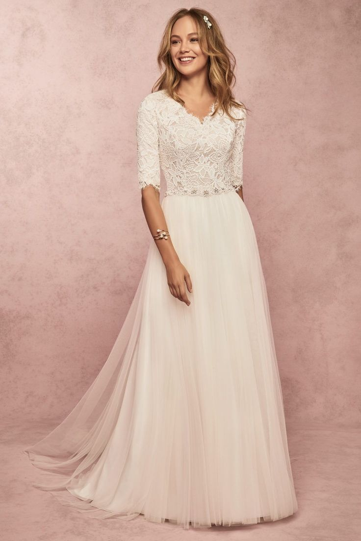 Beautiful Brand Wedding Dresses Rebecca Ingram Connie Leigh This Soft And Romantic Modest Modest Bridal Gowns A Line Wedding Dress Wedding Dress Sleeves